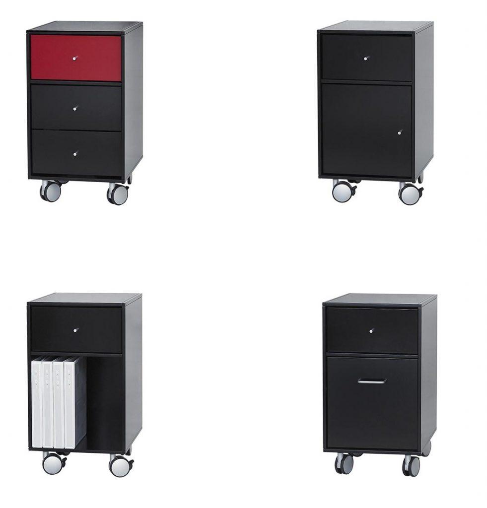 Square Reolens® skuffekassetter kan også sammensættes med tilbehør i alle vores farver. Korpus fås i malet antracit eller sort.